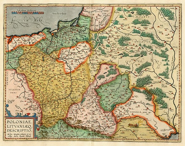 51-Europe, Germany, Poland, Russia and Baltic Countries Map By Abraham Ortelius