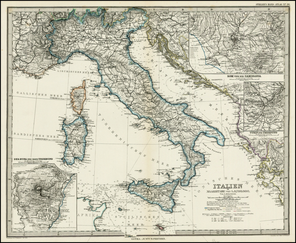 32-Italy Map By Adolf Stieler