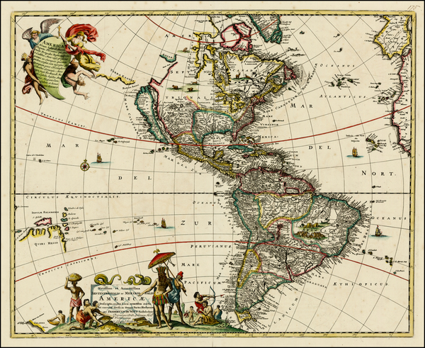 41-North America, South America, Australia, New Zealand and America Map By Covens & Mortier