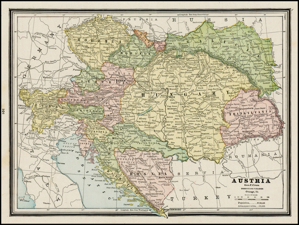 56-Austria, Hungary, Czech Republic & Slovakia and Balkans Map By George F. Cram