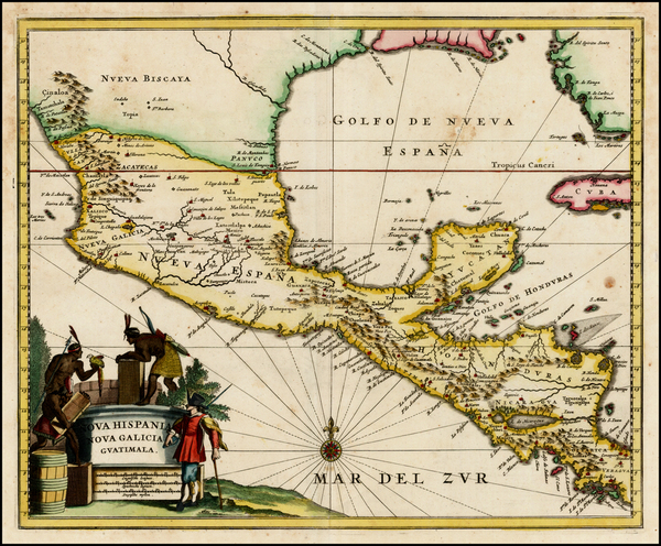 48-Florida, Texas, Mexico, Caribbean and Central America Map By John Ogilby