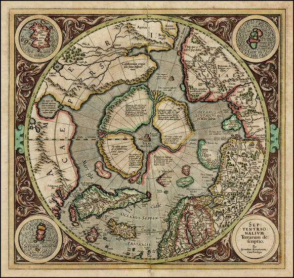 4-Northern Hemisphere, Polar Maps and Alaska Map By Gerard Mercator