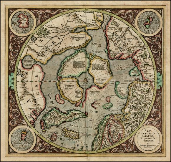 21-Northern Hemisphere, Polar Maps and Alaska Map By Gerard Mercator
