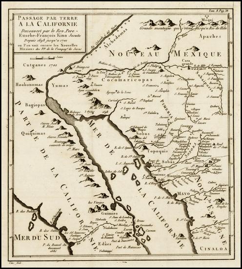 90-Southwest, Mexico, Baja California and California Map By Fr. Eusebio Kino