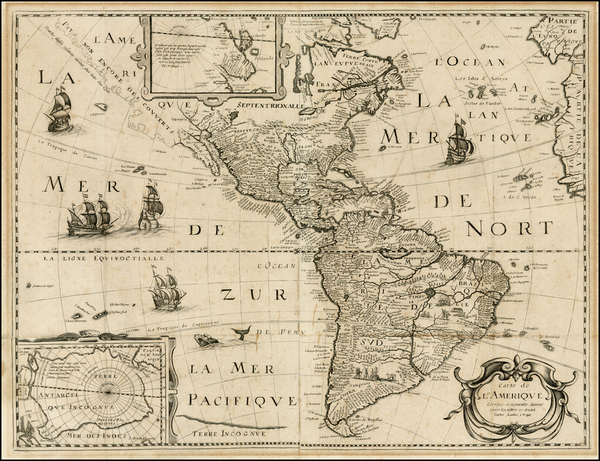26-Alaska, South America and America Map By Petrus Bertius / Michel Van Lochem