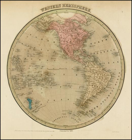 41-Western Hemisphere, South America and America Map By Thomas Gamaliel Bradford