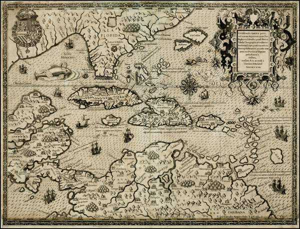 30-South, Southeast, Caribbean and South America Map By Theodor De Bry / Girolamo Benzoni