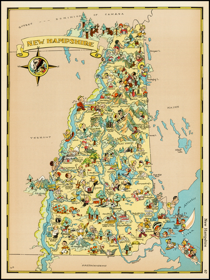 12-New England and New Hampshire Map By Ruth Taylor White