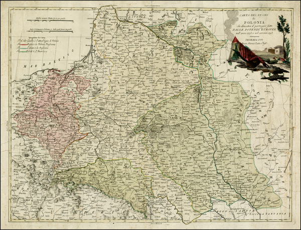 90-Poland and Ukraine Map By Antonio Zatta