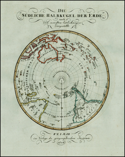 39-Southern Hemisphere, Polar Maps, Australia & Oceania and Oceania Map By Weimar Geographisch