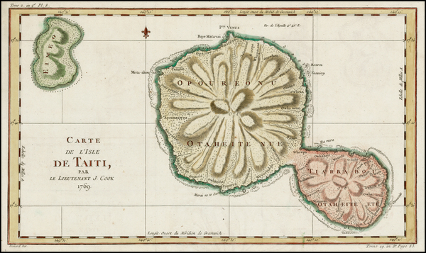 60-Other Pacific Islands Map By Jacques Nicolas Bellin / James Cook