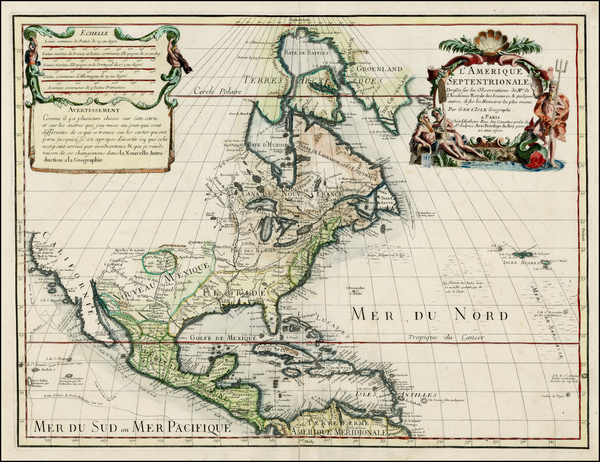 90-North America and California Map By Guillaume De L'Isle