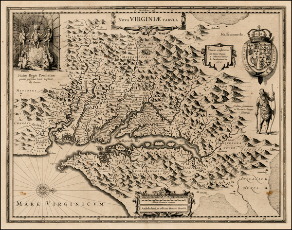51-Mid-Atlantic and Southeast Map By Henricus Hondius