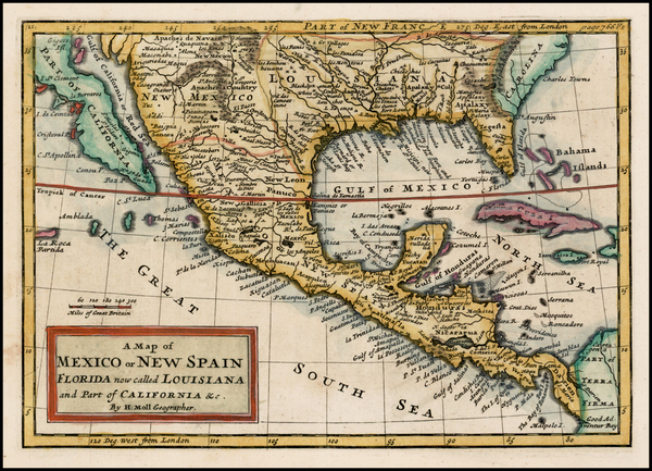 65-Florida, South, Southeast, Texas, Southwest and California Map By Herman Moll