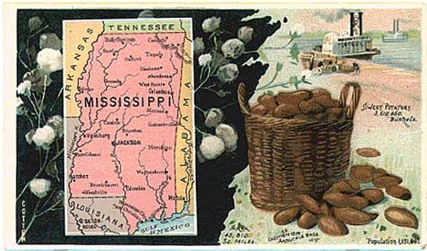 64-Mississippi Map By Arbuckle Brothers Coffee Co.