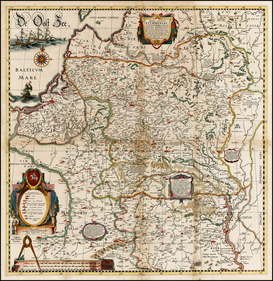 34-Poland, Russia, Ukraine and Baltic Countries Map By Willem Janszoon Blaeu / Hessel Gerritsz