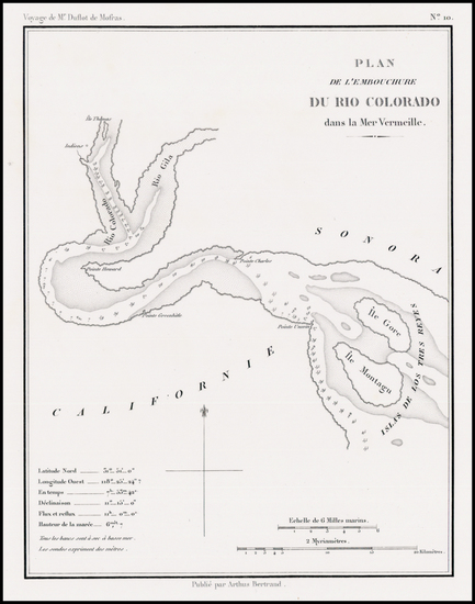 32-Arizona and California Map By Eugene Duflot De Mofras