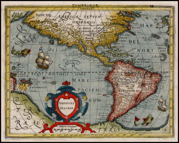 57-Western Hemisphere, South America and America Map By Jodocus Hondius -  Gerard Mercator