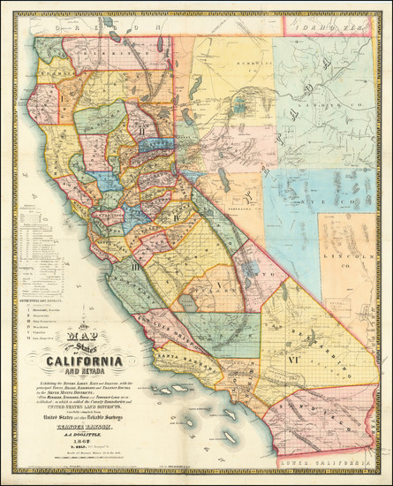 13-Nevada and California Map By A.J. Doolittle  &  Leander Ransom