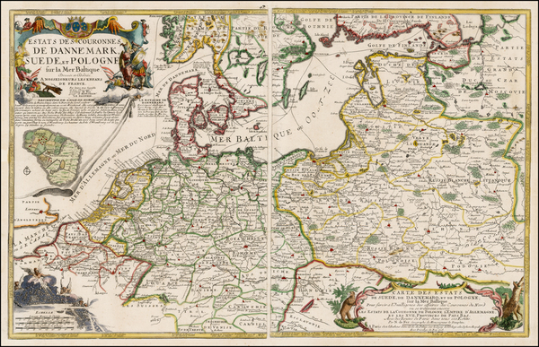 9-Germany, Poland, Baltic Countries and Scandinavia Map By Nicolas de Fer