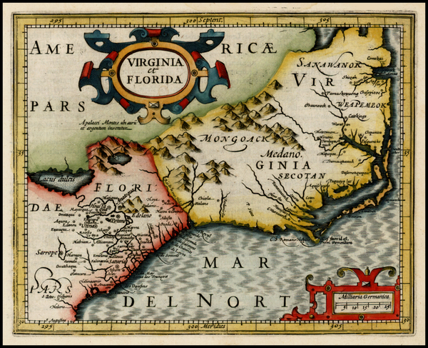 89-Mid-Atlantic and Southeast Map By Jodocus Hondius