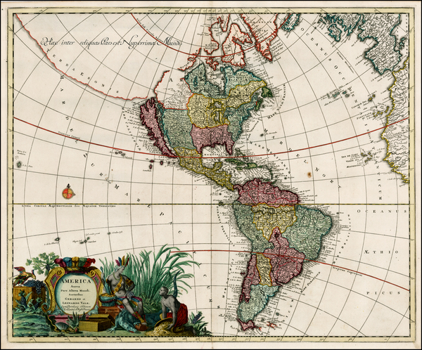67-South America, California and America Map By Gerard & Leonard Valk