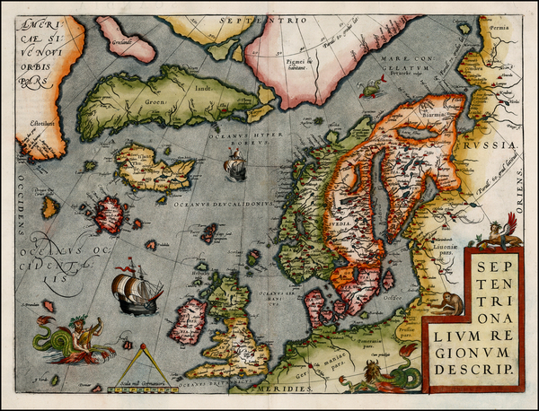 85-Atlantic Ocean, Europe, British Isles, Scandinavia and Balearic Islands Map By Abraham Ortelius