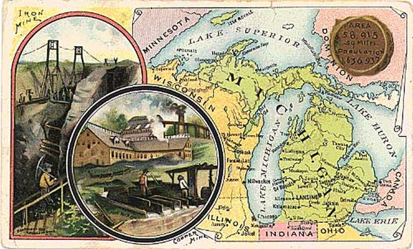 32-Midwest and Michigan Map By Arbuckle Brothers Coffee Co.