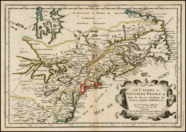 51-New England, Midwest and Canada Map By Nicolas Sanson