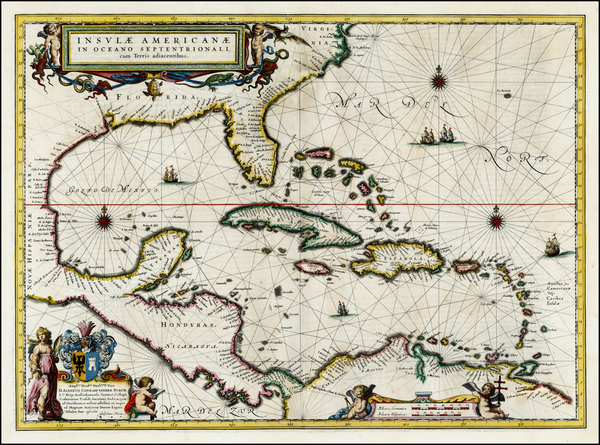 50-South, Southeast, Caribbean and Central America Map By Willem Janszoon Blaeu