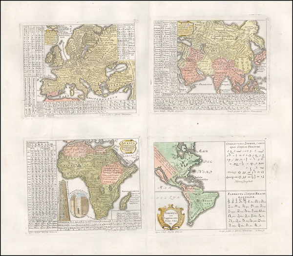 25-World, South America, Europe, Europe, Asia, Asia, Africa, Curiosities and America Map By Homann