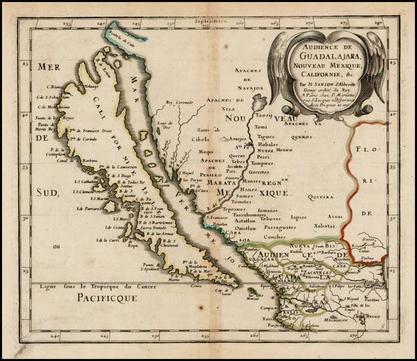 40-Southwest, Mexico, Baja California and California Map By Nicolas Sanson