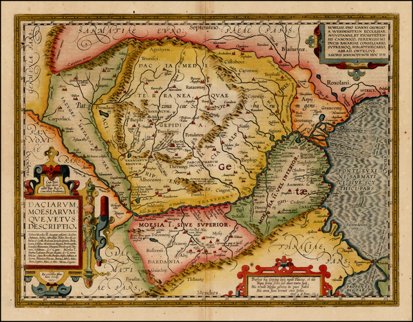75-Romania and Balkans Map By Abraham Ortelius