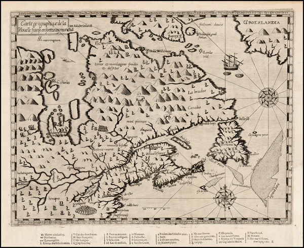 61-United States, New England, Midwest and Canada Map By Samuel de Champlain