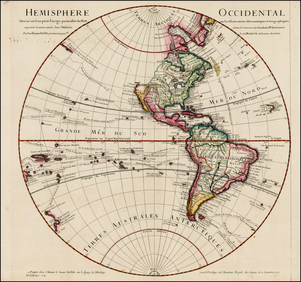 85-Western Hemisphere, South America, Pacific, New Zealand and America Map By Guillaume De L'Isle