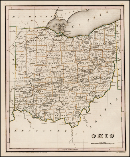 13-Midwest and Ohio Map By Thomas Gamaliel Bradford