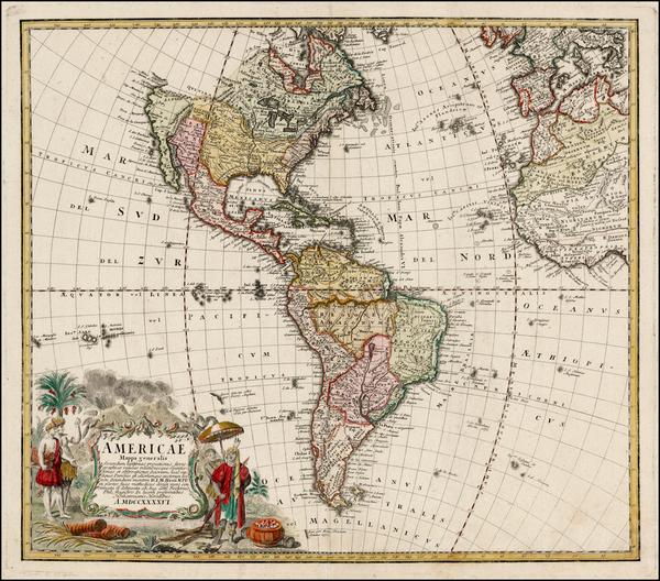 66-Western Hemisphere, South America and America Map By Homann Heirs / Johann Matthaus Haas
