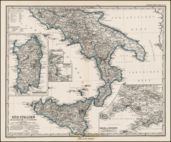 47-Italy and Balearic Islands Map By Adolf Stieler