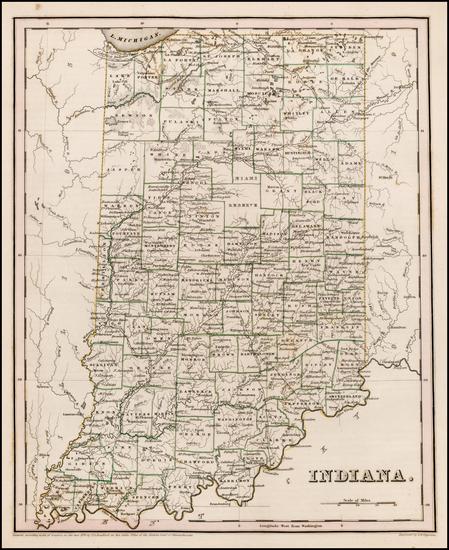 75-Indiana Map By Thomas Gamaliel Bradford