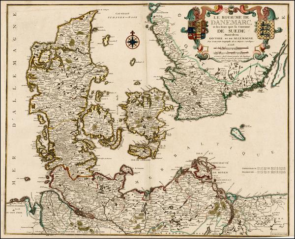 37-Scandinavia Map By Nicolas de Fer / Guillaume Danet