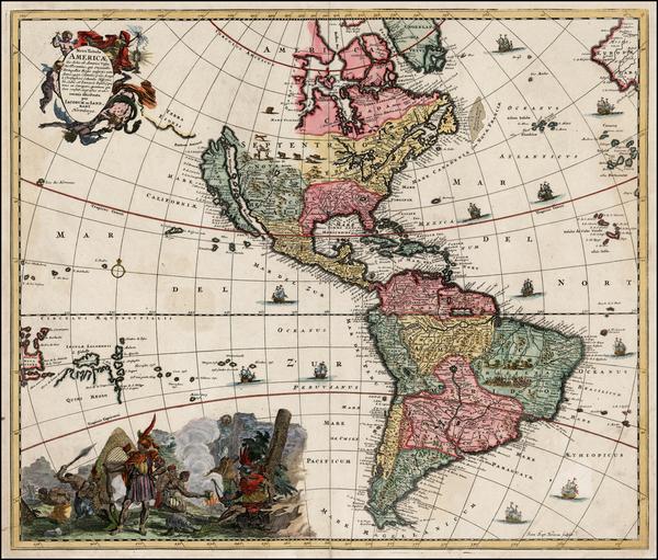 24-Western Hemisphere, South America, California and America Map By Jacob Sandrart