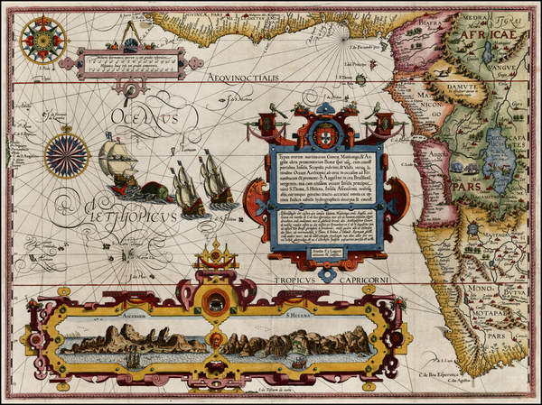 3-Atlantic Ocean, South Africa and West Africa Map By Jan Huygen Van Linschoten