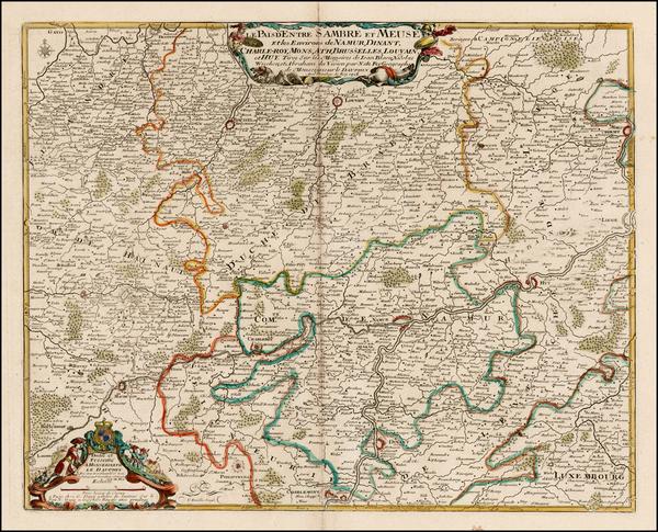 45-Belgium Map By Nicolas de Fer / Guillaume Danet