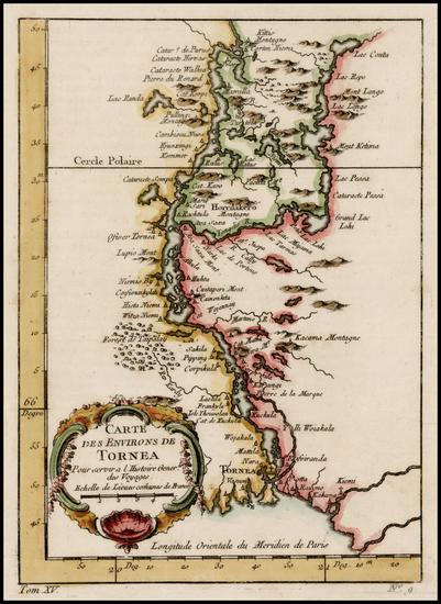 69-Scandinavia Map By Jacques Nicolas Bellin