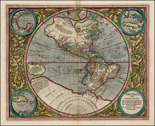 44-World, Western Hemisphere, Polar Maps, South America and America Map By Michael Mercator
