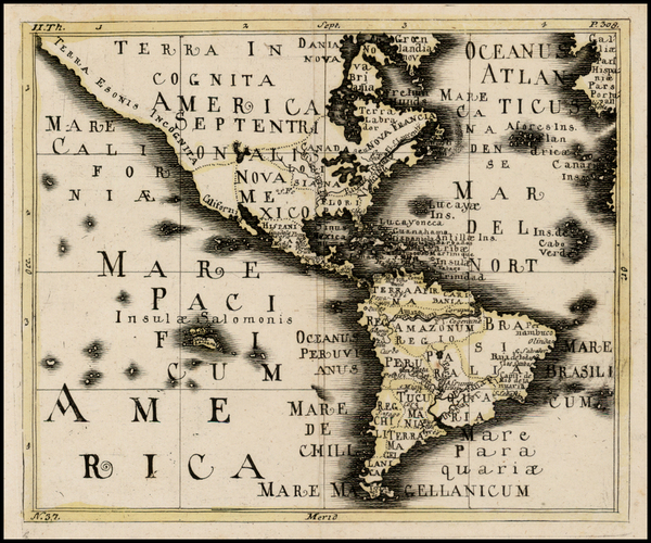 74-North America, South America and America Map By Franz Wagner