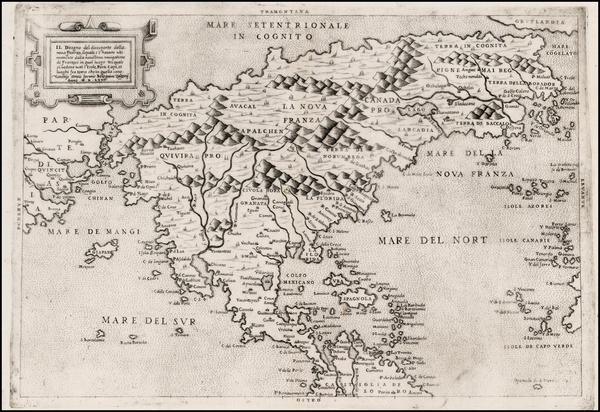 29-North America, Central America and Pacific Map By Paolo Forlani / Bolognini Zaltieri