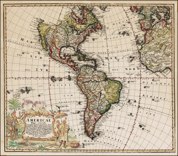 65-Western Hemisphere, South America and America Map By Homann Heirs / Johann Matthaus Haas