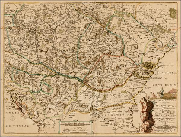 58-Ukraine, Hungary, Romania and Balkans Map By Nicolas de Fer / Guillaume Danet