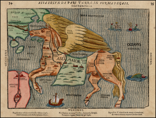3-Asia, Asia, China, Southeast Asia, Curiosities and Comic & Anthropomorphic Map By Heinrich